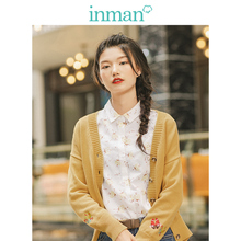 INMAN Spring Autumn Solid Ribbing V neck Minimalism All Matched Long Sleeve Cute Embroidery Women Cardigan