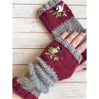 Women Stylish Hand Warmer Winter Gloves Arm Crochet Knitting Faux Wool Flowers Mitten Warm Fingerless Glove Gants Femme #W3 1