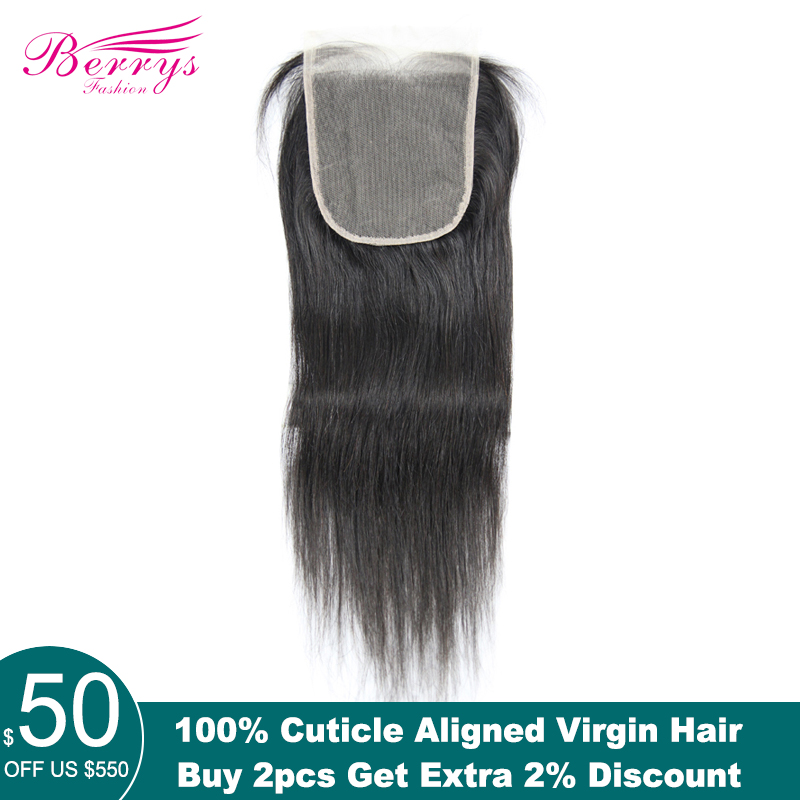Lace Closure Human-Hair Transparent Berrys Fashion Natural Straight Brazilian Hair-Line