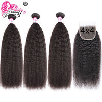 Beauty Forever Kinky Straight Hair Bundles With Closure Brazilian Yaki Human Hair Bundles With Closure 4x4 Free Part Remy Hair