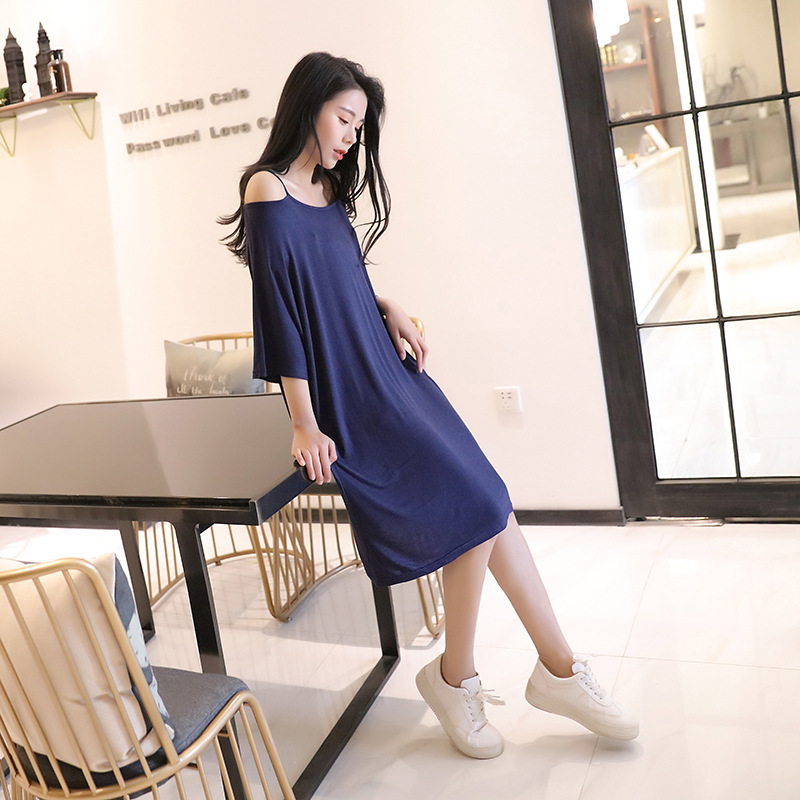 2019 Summer Loose And Plus-sized Fat Mm Nightgown Outer Wear Tracksuit Sexy Pajamas Women's Bat Sleeve Off-Shoulder Dress