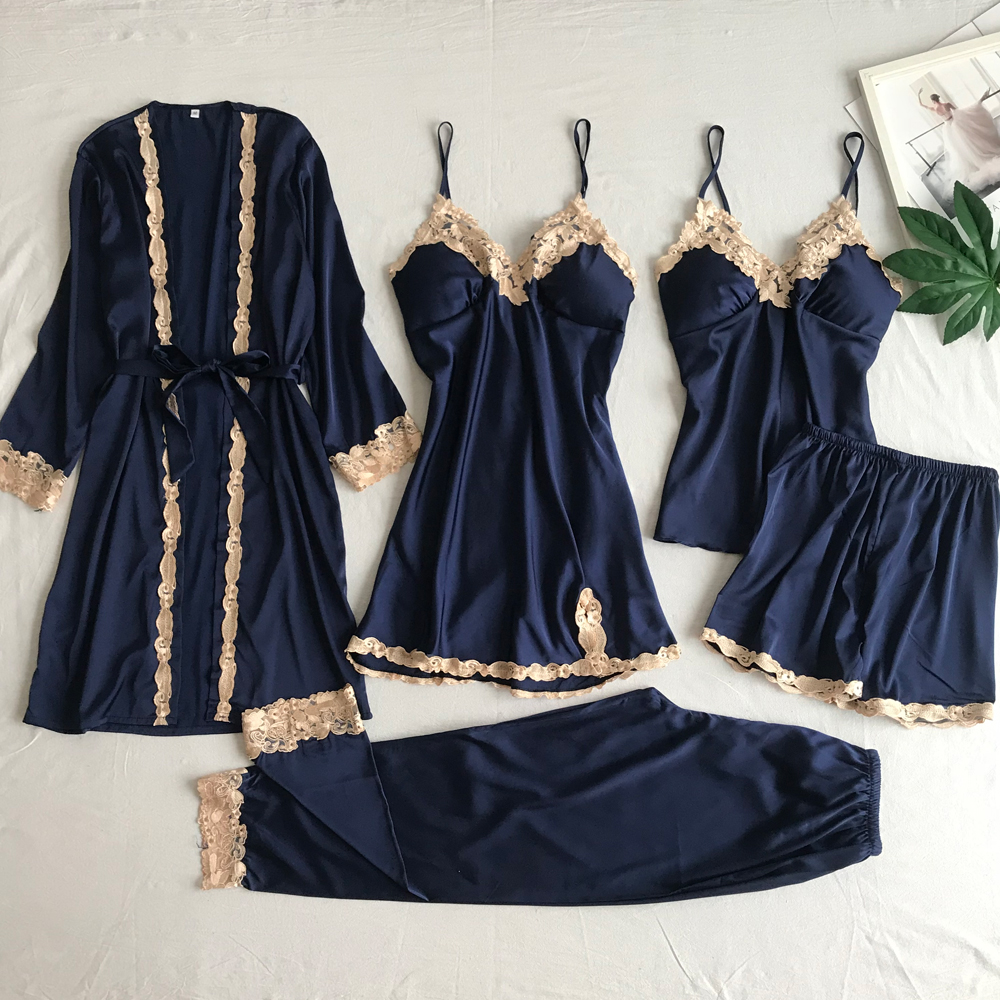 5 Pieces Women Pyjama Sexy Lace Nightdress Sleep Lounge Pijama Silk Nightwear Night Gown Set Of 5 Pieces Satin Pyjamas For Women