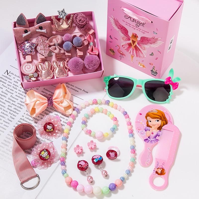 28PC/1BOX Lovely Cartoon Baby Hair Clips Luxury Princess Barrettes  Hairpin Birthday Gift Hair Accessories For Children HeadWear