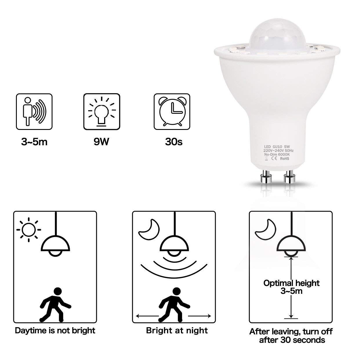 Image 4 - GU10 PIR Motion Sensor LED Light Bulbs 5W,50W Equivalent 500lm Day White 6000K for Stairs Garage Corridor Walkway Hallway 2Pack-in LED Bulbs & Tubes from Lights & Lighting
