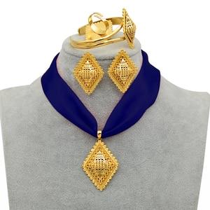 Image 2 - Anniyo DIY Rope Ethiopian Jewelry set Pendant Necklaces Earrings Bangle Ring Gold Color Eritrea Habesha Jewellery Sets #218406