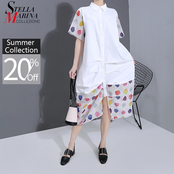 New 2020 Women Plus Size Summer Long White Shirt Dress Colorful Dots Print Patchwork Ladies Stylish Casual Unusual Dress 6155