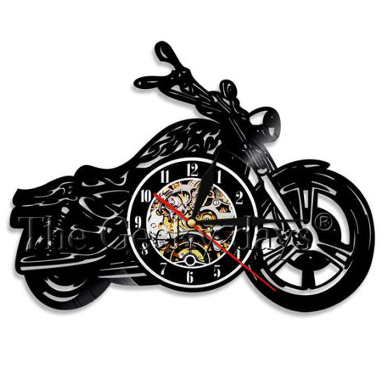 Motorcycle Acrylic Record Wall Clock Motorcycle Time Clocks Watch House Motorbike Wall Art Decor Clock