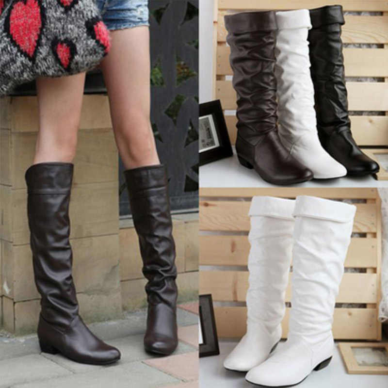 Women Leahter Knee High Boots Fashion Folding Slip on Winter High Boots Casual Low Heels White Black Long Slim Boots Ladies 2019