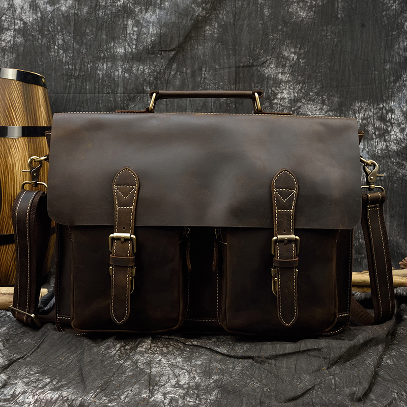 Luufan 42cm Laptop Briefcase Case Crazy Horse Leather Men Brief Case Crossbody Messenger Bag 15 16 Inch Computer Bag Retro Style
