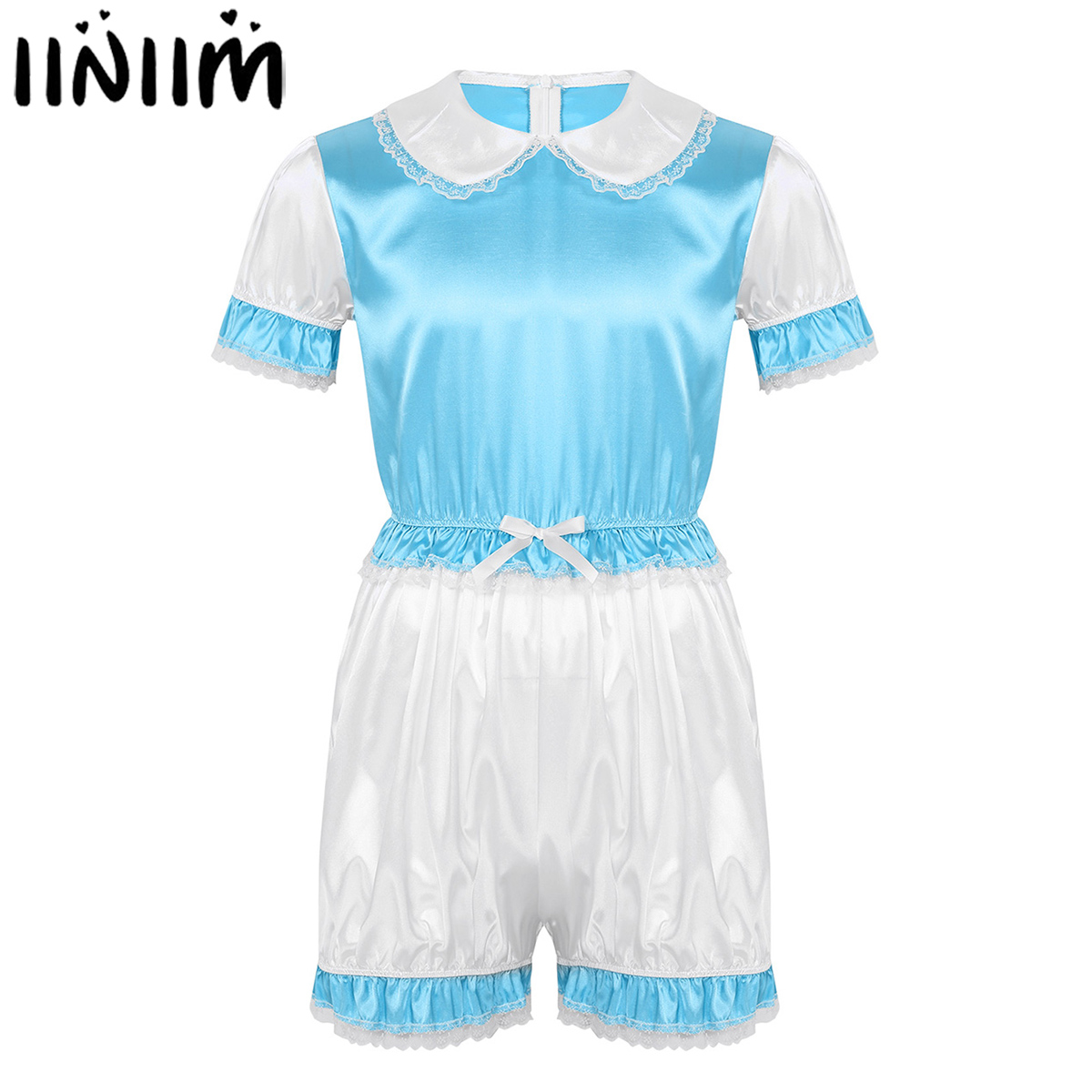 Iiniim Men Sissy Silky Satin Doll Collar Short Puff Sleeves Trimmed Lace Romper Adult Baby Cross Dresser Party Cosplay Costume