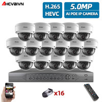 AHCVBIVN H.265+ 16CH 4K 5MP POE Kit CCTV Camera System Outdoor WaterProof Security POE IP Camera Video Surveillance Set 4TB HDD