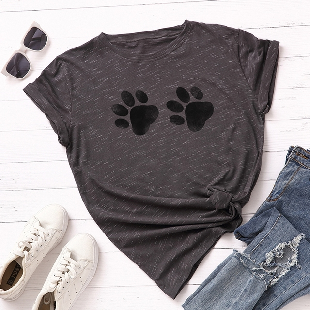 Cute Paw Printed Cotton Tee for Women