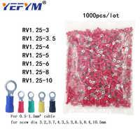 1000 unids/pack anillo crimpado aislamiento terminal RV1.25-3 RV1.25-4 RV1.25-5 RV1.25-6 8 10 para 0,5-1.5mm2 de alambre de cable conector de cable