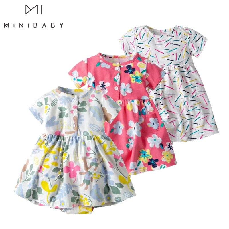 2020 Summer Fashion Girl Baby Clothing Newborn - 2 Y Infant Dress Brand Print Flower  Jumpsuit Dress Cotton Summer Baby Dresses