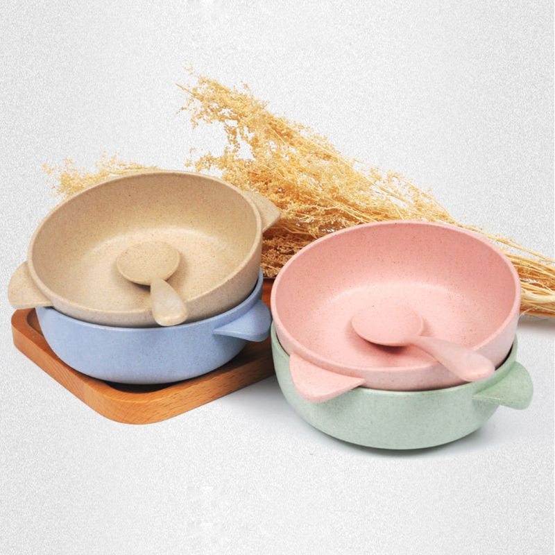 2pcs/set Baby Feeding Food Tableware Eco-Friendly Toddle Kids Dishes Baby Child Eating Dinnerware Anti-hot Training Bowl+Spoon