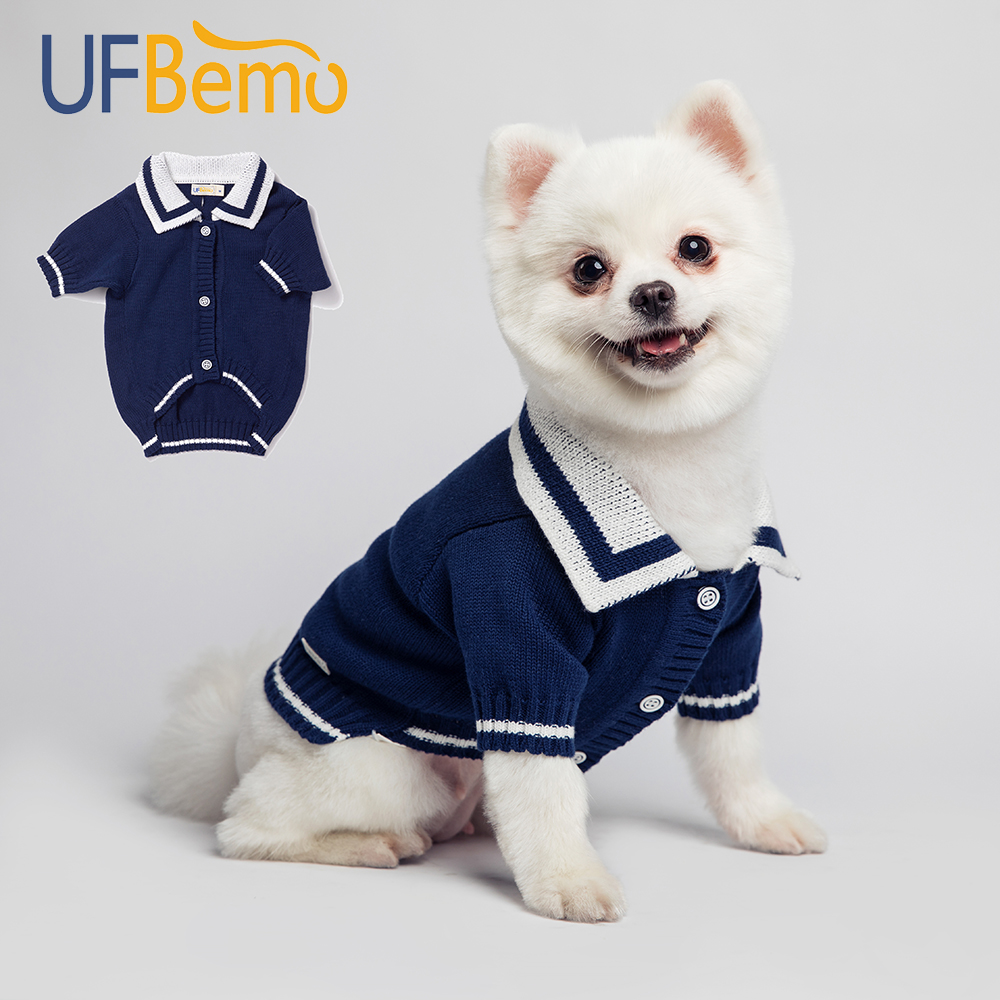 UFBemo Dog Sweater Cat Jersey Chien Clothes Cardigan Sweaters for Small Medium Chihuahua Christmas Puppy Navy Winter Cotton