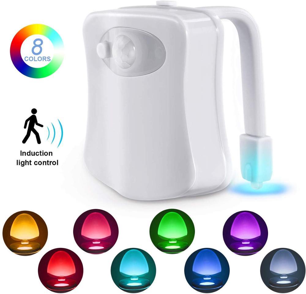 Ночной светильник для туалета, светодиодный светильник с активированным движением, 8 цветов, меняющий унитаз, ночной Светильник для ванной