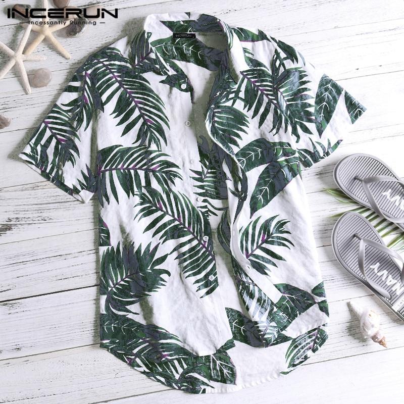 Summer Hawaiian Red Shirts Tropical Shirts Floral Men Tops Casual Shirt Short Sleeve Cotton Button Chemise Loose Vacation Beach