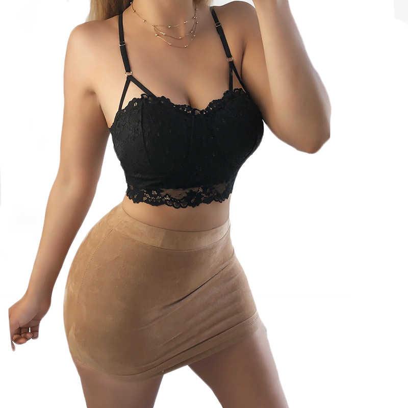 Kadın bayan çiçek dantel kayış sarılmış göğüs Bralette sütyen seksi Hollow push-up Cami kırpma üst varış seksi kolsuz yelek