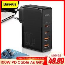 Baseus 100w gan usb tipo c carregador pd qc carga rápida 4.0 3.0 USB-C typec carregador de carregamento rápido para iphone 12 11 pro max macbook