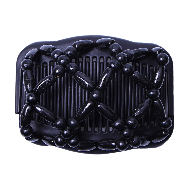Double Beaded Hair Magic Comb Clip Beads Elasticity Hairpin Stretchy Hair Combs For Women Hair Accessories Black