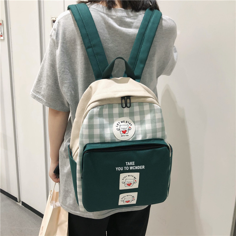 2019 New Style Cute Soft Girl Backpack College Style Middle School Students Plaid School Bag Women's Korean-style Ulzzang Backpa