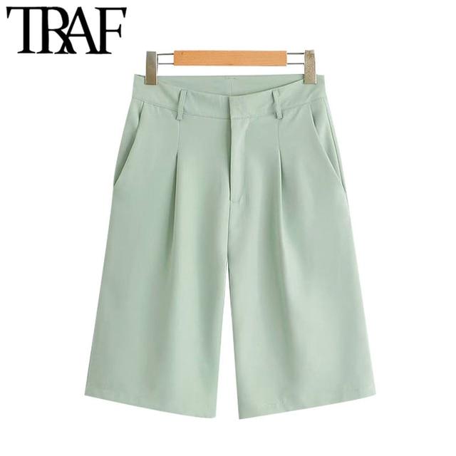TRAF Women Chic Fashion Office Wear Straight Pants Vintage High Waist Side Pockets Female Short Pants Pantalones Mujer 1