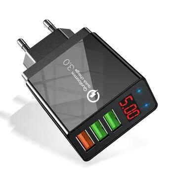 نشل شاشة العرض شاحن سريع سريع شحن 3.0 QC 30W USB شاحن لشاحن الجدار فون الهاتف 11 لشركة سامسونج s10 Xiaomi 9 1