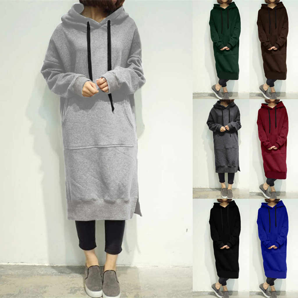 Women Warm Blouse Hooded Hoodie Baggy Pullover Oversize Sweatshirt Long Dress