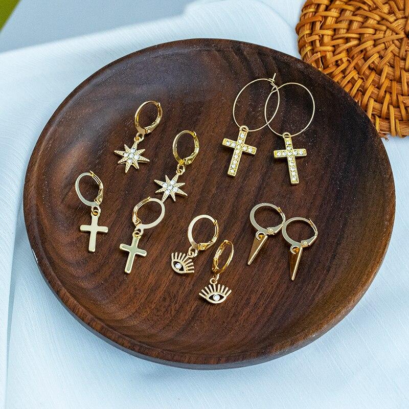 ZWC 2020 New Fashion Geometry Vintage Earring For Women Party Gold Small Cross Dangle Drop Earring Female Jewelry Wholesale
