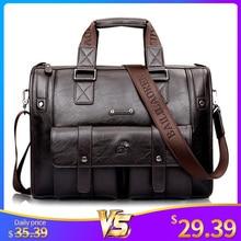 Men Leather Black Briefcase Business Handbag Messenger Bags