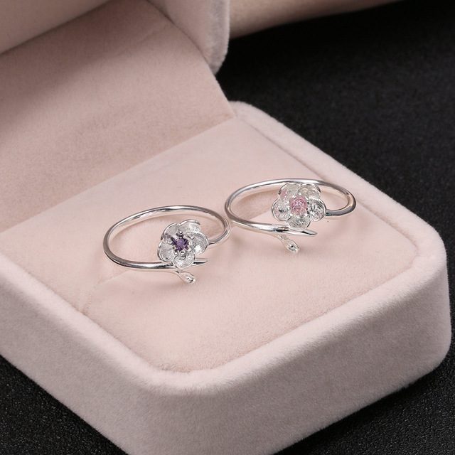 Silver 925 Jewelry Purple Zircon Cherry Ring Simple Fashion Silver Ring For Women Engagement Wedding Elegant Accessories 4