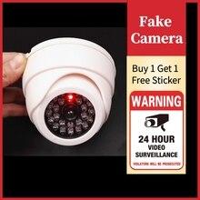 אבטחה כיפה מזויף מצלמה אדום פלאש LED אור חיצוני Video מעקב בטיחות קמר לקנות 1 מקבל 1 משלוח אזהרה מדבקה