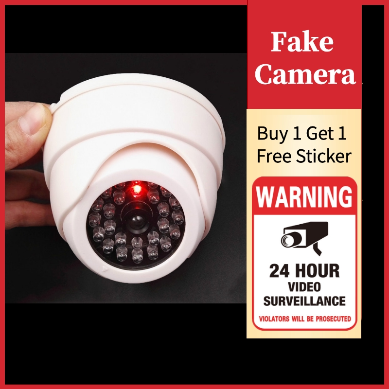 Security Dome Fake Camera Red Flash LED Light Indoor Outdoor Video Surveillance Safety kamera Buy 1 Get 1 Free Warning Sticker