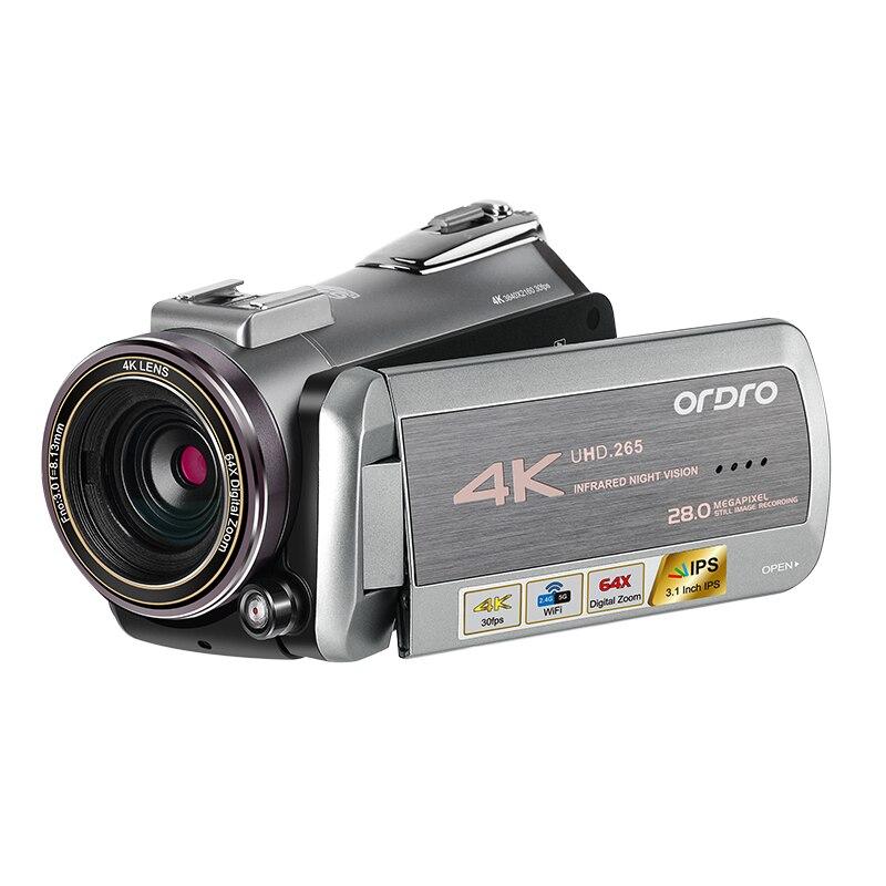 ORDRO AZ50 4 Real K H.265 30FPS 4K Filmadora de Visão Noturna Câmera de Vídeo Suporte Ao Formato Estéreo Microfone Receptor GPS