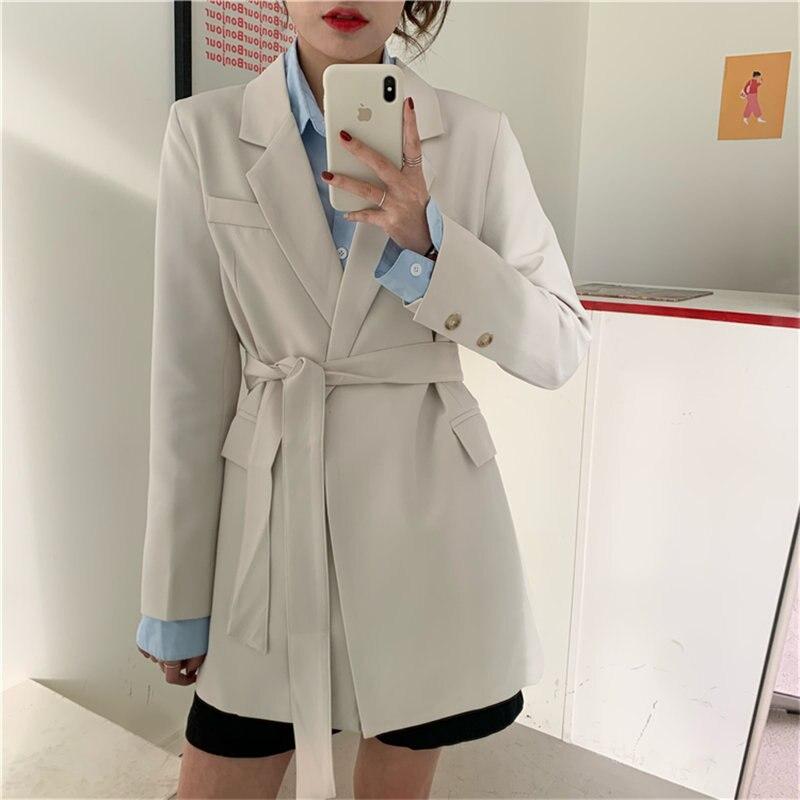 HziriP 2020 Minimalist Women Sashes Belt Loose Fashion Casual Woolen Elegance Solid All Match Brief Chic Office Lady Blazers