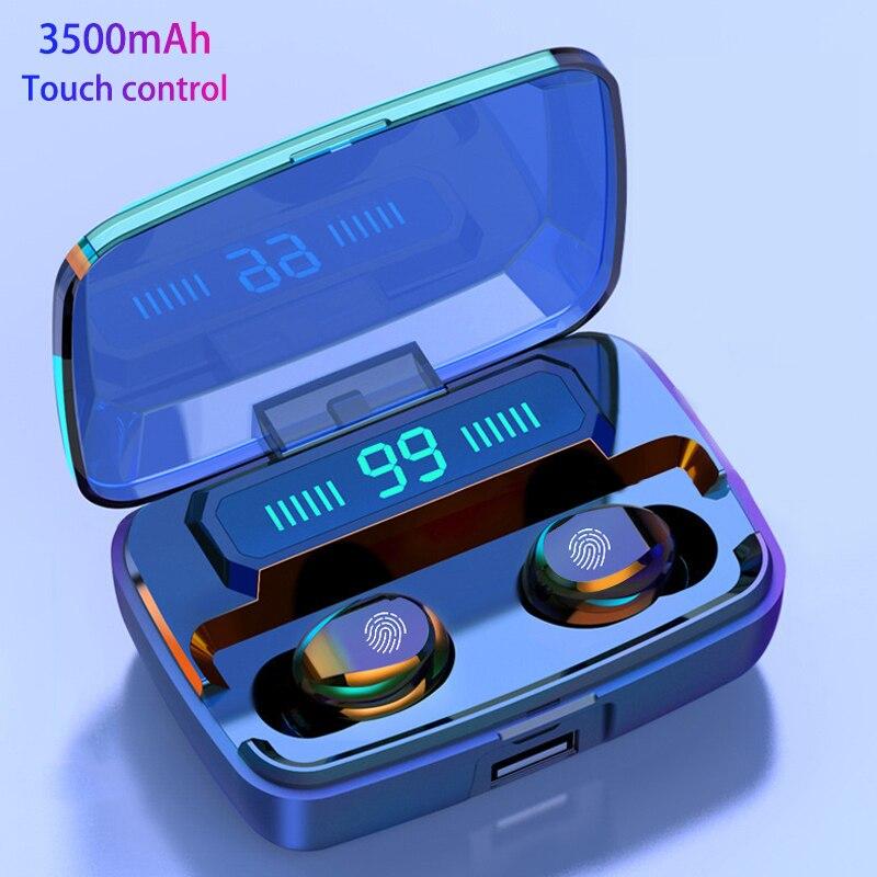 3500 мАч светодиодный Bluetooth настоящие Беспроводные наушники TWS сенсорное управление Спортивная гарнитура шумоподавление наушники