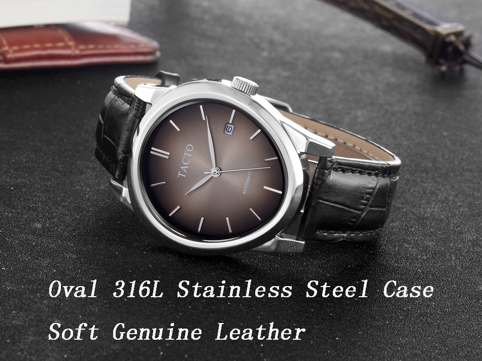 2019 New TACTO Men Watches Top Brand Luxury Mechanical Automatic Watch Fashion Sport Watch Genuine Leather strap Wristwatch in Mechanical Watches from Watches