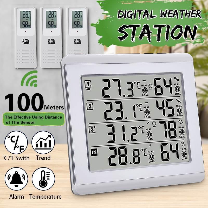 3 предмета в комплекте C/F макс сигнализации Температура измеритель Метеостанция тестер Беспроводной ЖК-дисплей цифровым термометром и гигр...