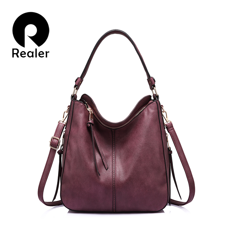 REALER women handbags PU leather female Crossbody shoulder bags high quality messenger bags for ladies big Totes large capacity