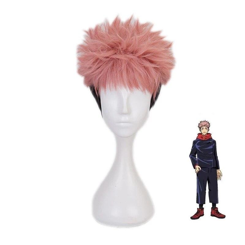 Anime Jujutsu Kaisen Cosplay Yuji Itadori Wig Jujutsu Kaisen Yuji Itadori Pink Black Short Heat Resistant fiber Hair Wigs