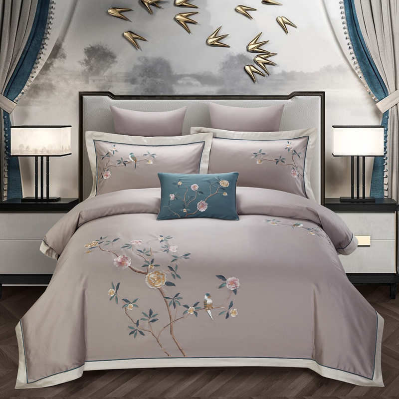Chic Shabby Egyptian Cotton Embroidery Duvet/Comforter Cover Set Queen King Bedding Set Bed Sheet Fitted Sheet Set Pillowcase