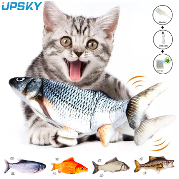 моделирование рыбной игрушки cat chew toys cat teaser fish cushions catnip cat supplies UPSKY 30cm Cat Fish Toys Electric Moving Tail 3D Simulation Fish Cat Toy With USB Charged Catnip Chew Play Bite Toy For Pet Cat