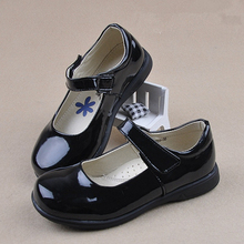 Girls Flats Patent Leather Student Single Shoes Kids Black Soft Sole Classic Performance Loafer for Big Casual