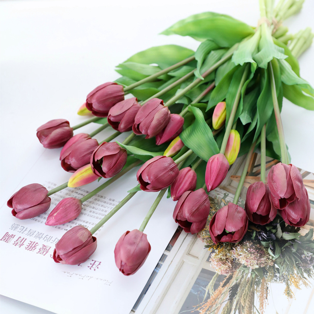 5Pcs bunch Artificial Tulips Flower For Home Wedding Decoration Bride Hand Flowers Real Touch Soft Silicone Tulip flores Decor 10