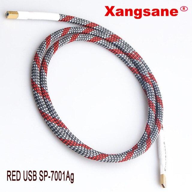 Xangsane tarjeta de sonido USB chapada en plata de cobre y cristal, DAC, línea de datos, A B bucal cuadrado, cable de sonido de fiebre