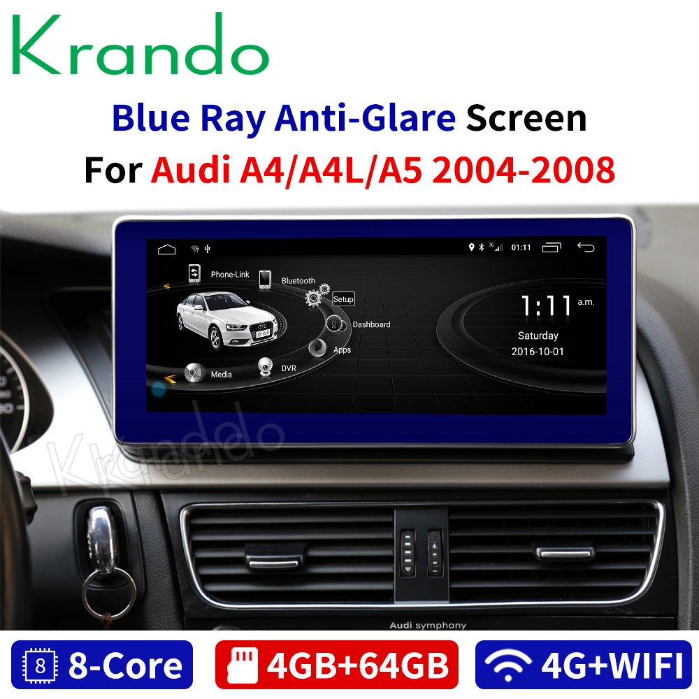 Krando Android 8.1 10.25''IPS 4+64G car radio player navigation system for Audi A4 A4L A5 2004-2008 multimedia audio player image