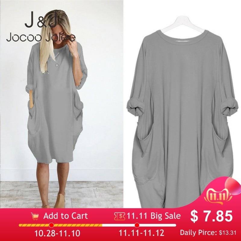 Mulheres casual solto vestido com bolso senhoras moda o pescoço longo topos feminino t camisa vestido streetwear plus size 5xl vestidos