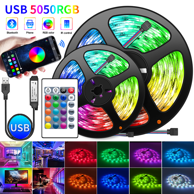 Bluetooth LED Strip Light 5V USB RGB Lights Flexible TV Backlight Lamp 5050 LED Tape Diode Phone Bluetooth APP 1-30m For Room