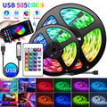 USB LED Strip Light Bluetooth RGB Lights Flexible TV Backlight Lamp 5050 5V LED Tape Diode Phone Bluetooth APP 1-30m For Room